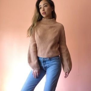 H&M Nude Ribbed Mock Neck Sweater